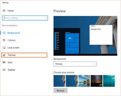 Desktop@UCL Windows 10 accessibility theme settings…