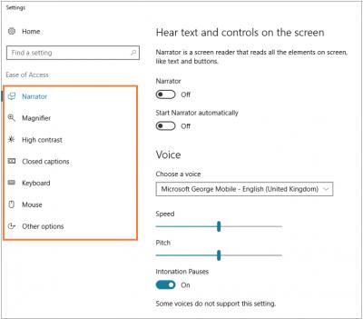 Desktop@UCL Windows 10 Ease of Access Centre options…