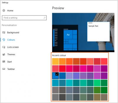 Adjust colour scheme select accent colour…