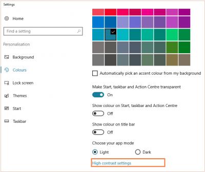 Adjust colour scheme high contrast settings…