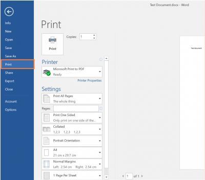 Desktop@UCL Windows 10 PDFs Word 2016 Print tab…