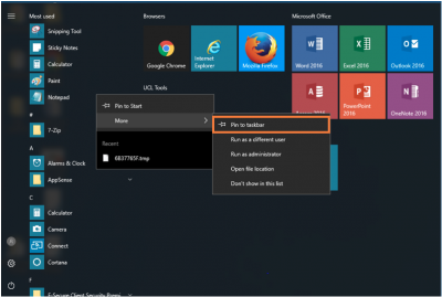 Desktop@UCL Windows 10 Pin to Taskbar…