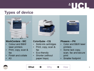 Types of Print @ UCL devices…