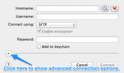 Fig 2. Show or hide advanced options button on the he New Connection dialog box.…