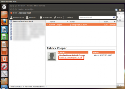 Fig 4. Example of clicking on an email address…