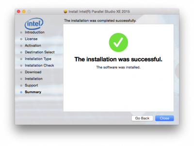 The installation was successful…