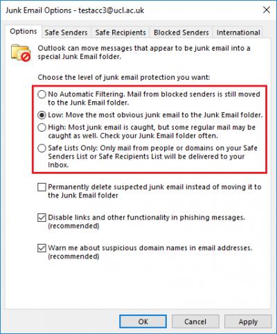 Fig 2. Junk E-Mail options box…