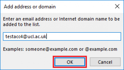 Fig 4. Add address or domain window…