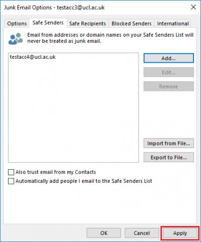 Fig 5. Illustration of applying Safe Senders settings…