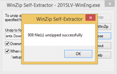 Winzip selfextractor unzipped successfully…