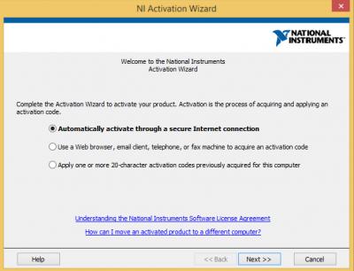NI Activation wizard…
