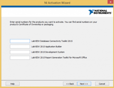 Confirm/Enter LabVIEW serial…