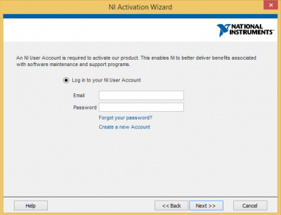 Log in to NI user account…