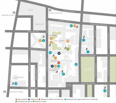 Map of student computer workrooms…
