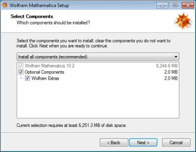 Select optional Mathematica components…