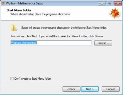 Select start menu folder…