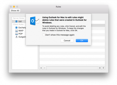 Create a message rule in Outlook 2016 for Mac | Information