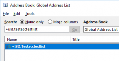 Fig 2. The Search field in the Global Address List (GAL)…