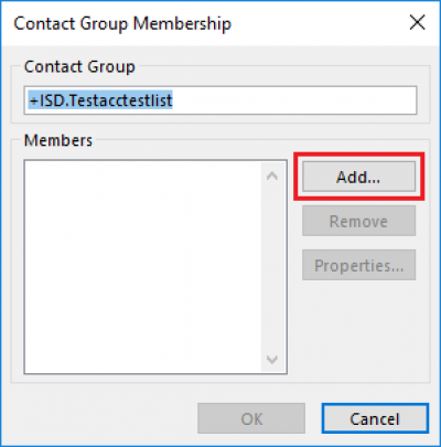 Fig 4. Location of the Add button on the Contact Group Membership box…
