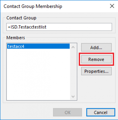 Fig 6. The Remove button in the Contact Group Membership box…