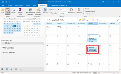 Fig 1. Example of a meeting in calendar month view…