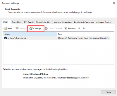 Fig 2. Location of Change option within Email tab…