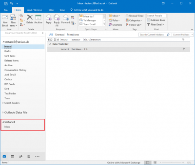 Fig 6. Illustration of where the new folder will appear in the Outlook window…