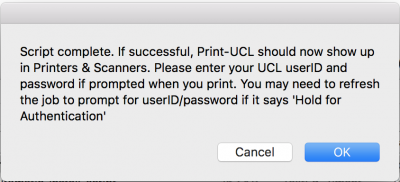 Connecting to Print@UCL using a Mac running OS X