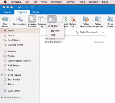 Fig 1. Location of the Organize tab and reading pane options…