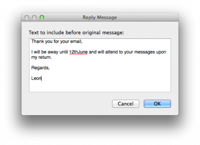 Fig 4. The Reply Message window…