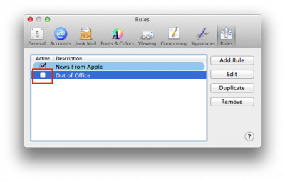 Fig 7. Option to disable out of office…