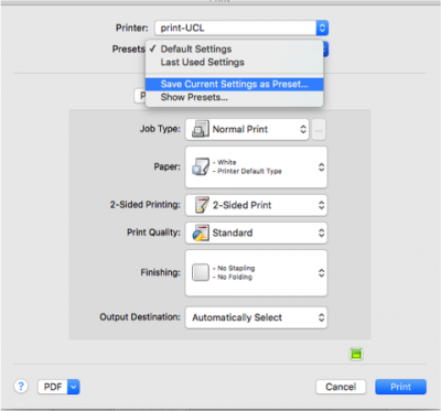 How to set printing defaults for Print@UCL using Mac OS X