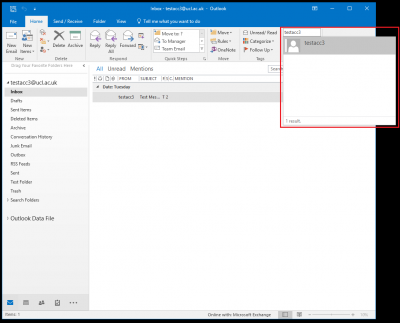 Fig 1. Location of the Find a contact field in the Outlook 2016 window…