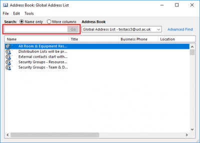 searching the global address list gal in outlook 2016 for windows