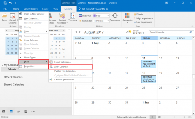 Fig 1. Illustration of how to get to the Share Calendar option…