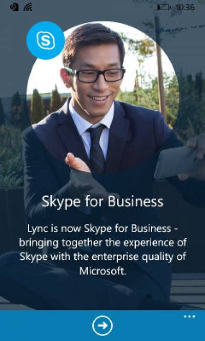 Fig 2. Skype for Business Welcome screen…