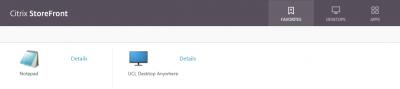 Citrix StoreFront Favorites tab…