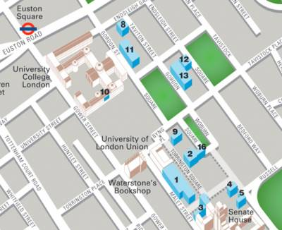Fig 1. Locations map of teaching spaces at Birkbeck…