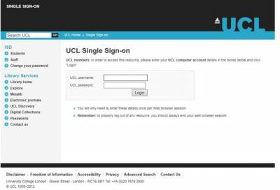 UCL single sign-on screen to log into the software database…