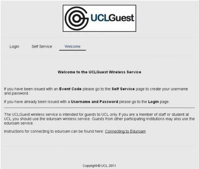 UCLGuest welcome page…