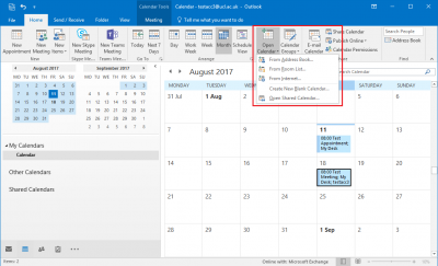 Fig 1. Open Calendar and From Address Book options…