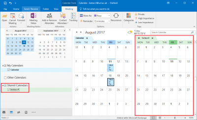 Fig 3. Example of calendars being displayed side by side…