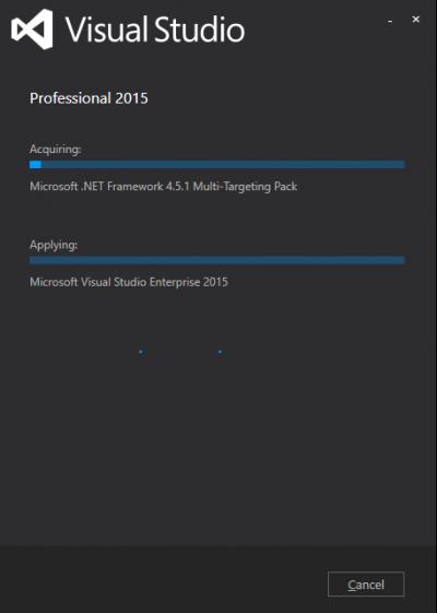 Installing Visual Studio…