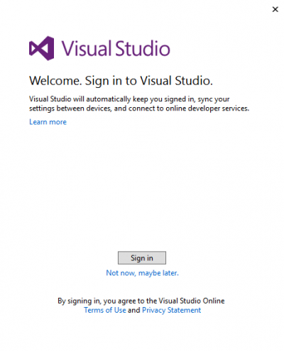 Sign in to Visual Studio…