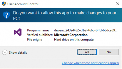 UAC Accept making changes to your PC…