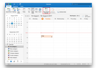 Fig 2. Location of Open Shared Calendar option…