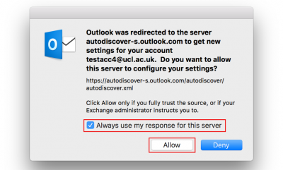 Fig 4. Autodiscover message window…