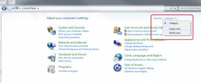 Fig 1. View by option in Windows 7 Control Panel…