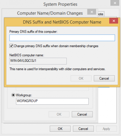 DNS Suffix and NetBIOS Computer Name…