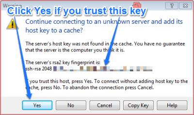 WinSCP Trust Host Key